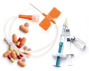 Pills, catheter, syringe